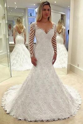 Elegant white wedding dresses lace cheap wedding dresses with sleeves_1