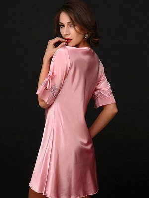 Pink one piece pajamas | Mey pajamas women_2