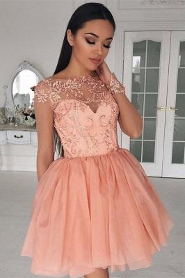 Designer Cocktail Dresses Short Pink A Line Evening Dresses Lace_1
