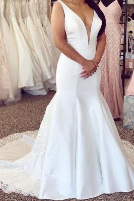 Schlichte Hochzeitskleider Mit Spitze | Brautkleider Meerjungfrau Online_1