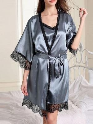 Nachtwäsche Damen Seide | Pyjama Schlafanzug Lang_2