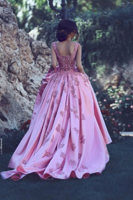 Rosa Abschlussballkleider Satin Mit Perlen Lange Abendkleider Günstig Abendmoden_2