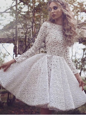 Long Sleeves Prom Dresses Cocktail Dresses Short Lace Cheap Knee Length Evening Dresses_1
