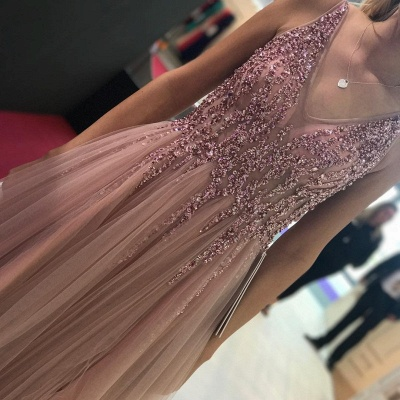 Plain prom dresses long cheap tulle floor-length evening dresses prom dresses_2