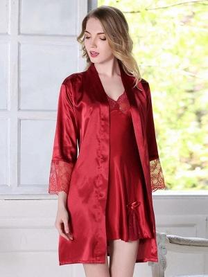 Sleepwear women elegant | Girls pajamas red_2