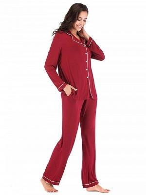 Weinrot Schlafanzüge Damen Lang | Nachtwäsche Pyjama Günstig_4