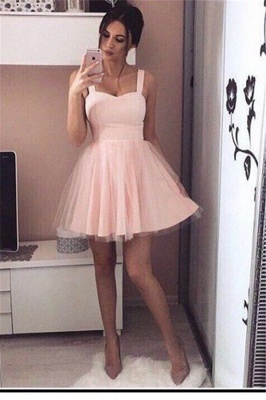Cheap Prom Dresses Short Pink Straps Tulle Prom Dresses Party Dresses Online_1