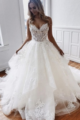 Cheap Sweetheart Lace A Line Wedding Dresses_1