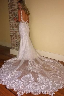 Elegante Brautkleider Mit Spitze   Hochzeitskleider Meerjungfrau Rückenfrei_2