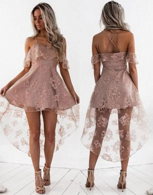 Pink Cocktail Dresses Front Short Behind Long Lace Evening Dresses Online_4