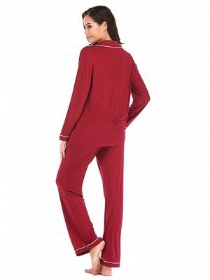 Wine red pajamas women long | Nightwear pajamas cheap_2