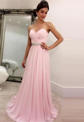 Rosa Abendkleider Lang Günstig Herz Ausschnitt Chiffon Abiballkleider Online_1