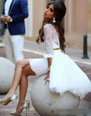 White Cocktail Dresses Ball Gown Lace Mermaid Evening Wear Short Cheap_3