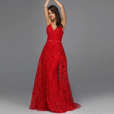 Elegant evening dresses long red | Evening wear with lace_2