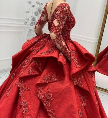 Designer Abendkleider Lang Rot | Abiballkleider Mit Spitze Ärmel_5