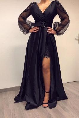 Elegante Abendkleider Lang Schwarz | Abiballkleider mit Ärmel_1