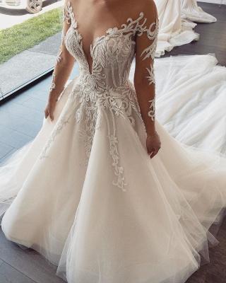 Elegante Brautkleider Mit Ärmel | Hochzeitskleider A Linie Online_1