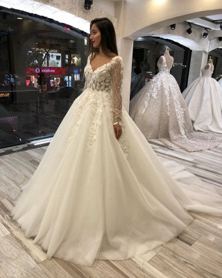 Fashion wedding dresses with sleeves | A line lace wedding dress_1