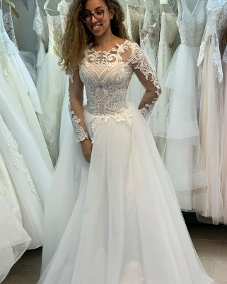 Modern wedding dresses with sleeves | Wedding Dress A Line Online_1
