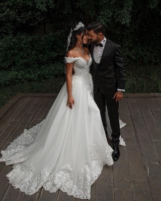 Elegante Hochzeitskleider A linie | Tüll Brautkleid mit Spitze_6