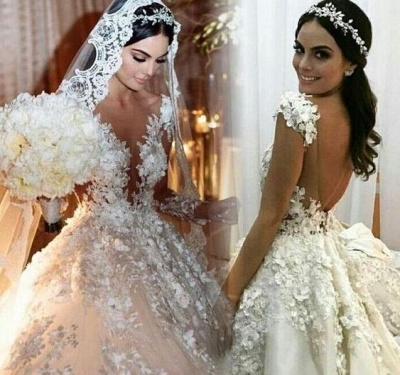 Luxury wedding dresses princess | Cheap bridal wear with lace_5