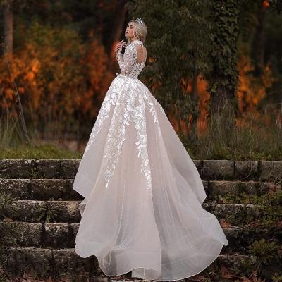 Designer Brautkleider mit Ärmel | Spitze Brautmoden A linie_3