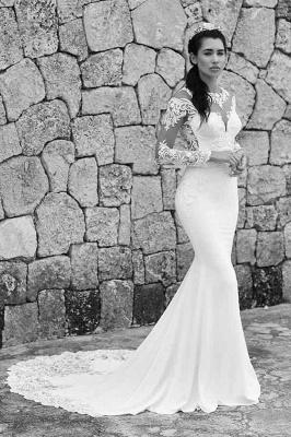 Schlichte Brautkleider Meerjungfrau | Spitze Ärmel Hochzeitskleider Online