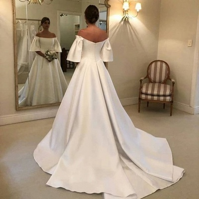 Simple wedding dresses A line | Wedding dress with sleeves_3