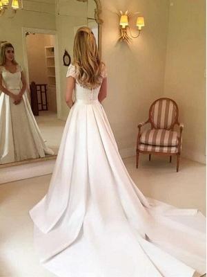 Elegante Brautkleider A Linie | Satin Hochzeitskleider Mit Spitze_2