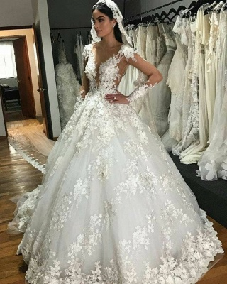 Luxury wedding dresses princess | Cheap bridal wear with lace_2