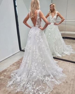 Elegante Brautkleid A linie | Spitze Hochzeitskleider V Ausschnitt_2