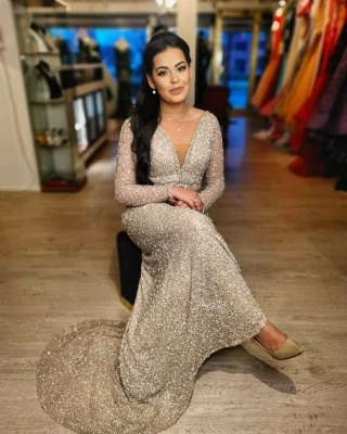 Evening dresses long glitter cheap | Prom dresses with sleeves_3