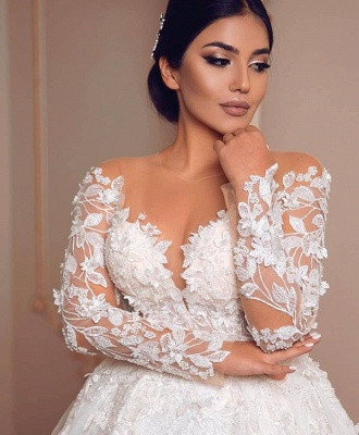 Wunderschöne Hochzeitskleider mit Ärmel | Spitze Brautkleid Prinzessin_4