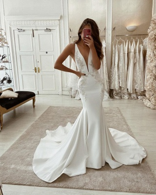 Designer wedding dresses mermaid | Registry office dresses with lace_2