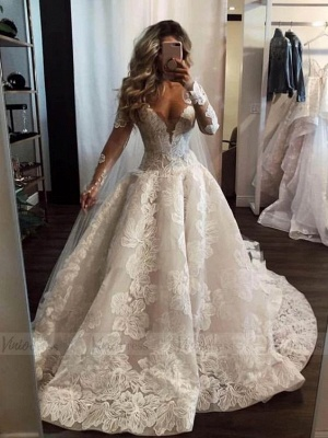 Fahison A-Line Sleeved Wedding Dresses | Bridal Fashion Cheap Online_2