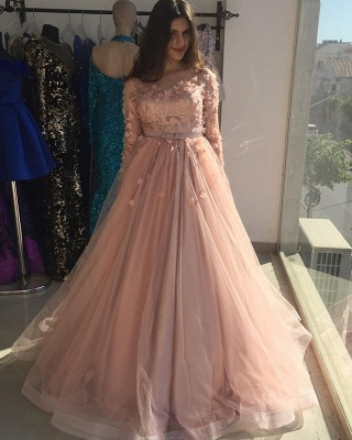 Evening dresses long pink | Prom dresses with sleeves_3
