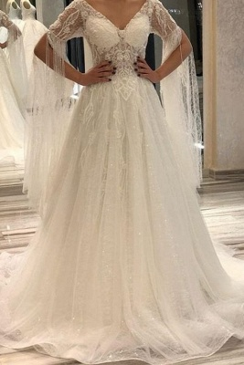 Designer wedding dresses with sleeves | Wedding dresses a line online_1