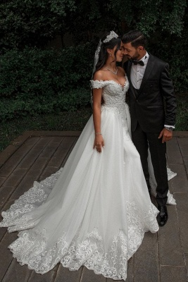 Elegante Hochzeitskleider A linie | Tüll Brautkleid mit Spitze_2