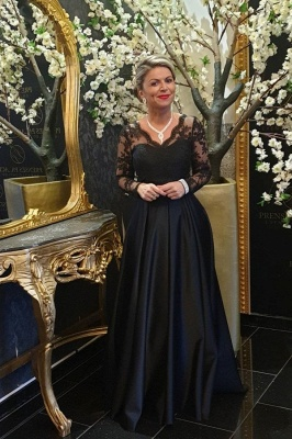 Black Mother of the Bride Dress Cheap | Long mother of the bride dresses with sleeves_1