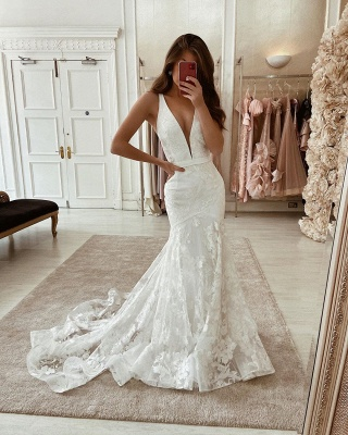Elegant wedding dresses V neckline | Bridal Lace Online_1