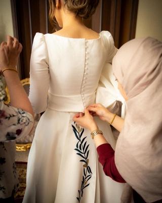 Schlichte Hochzeitskleider mit Ärmel | Brautkleid A Linie Satin_2