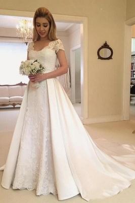 Elegante Brautkleider A Linie | Satin Hochzeitskleider Mit Spitze