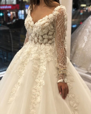 Fashion wedding dresses with sleeves | A line lace wedding dress_3