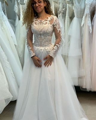 Modern wedding dresses with sleeves | Wedding Dress A Line Online_2