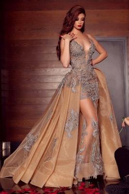 Elegante Abendkleider Lang Günstig | Abiballkleider V Ausschnitt mit Spitze