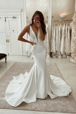 Designer wedding dresses mermaid | Registry office dresses with lace_1