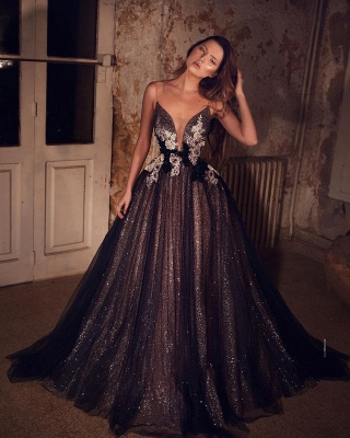 Elegant Evening Dresses Long Black | Prom dresses glitter online_2