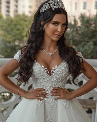 Elegante Hochzeitskleider A linie | Tüll Brautkleid mit Spitze_5
