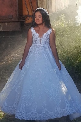 Weiße Blumenmädchenkleider Günstig | Kinder Hochzeitskleid Online