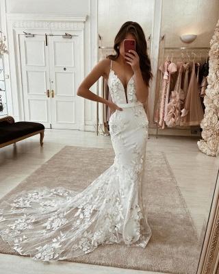 Elegante Brautkleider mit Spitze | Hochzeitskleid Meerjungfrau Online_2